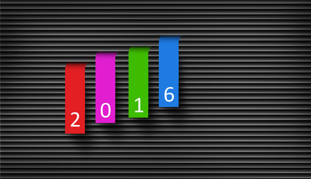 blinded: Happy New Year 2016 Concept, Colorful Paper Hanged From the Blinded Background.
