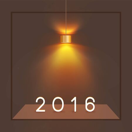 modern lamp: Happy New Year 2016 Concept, 2016 Text Numbers under Modern Lamp and Wall Stage