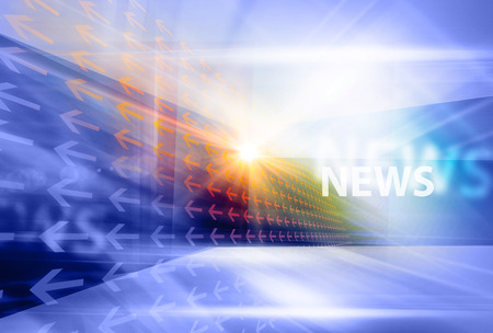 Graphical digital news background with arrows and news text.