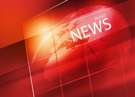 Graphical Digital World News background, Earth Globe Inside Big Flat TV Screen Banco de Imagens
