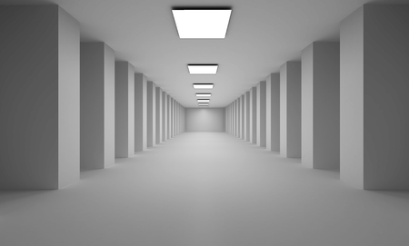 depth: Long 3D passage with flat white lights  on ceiling and many columns