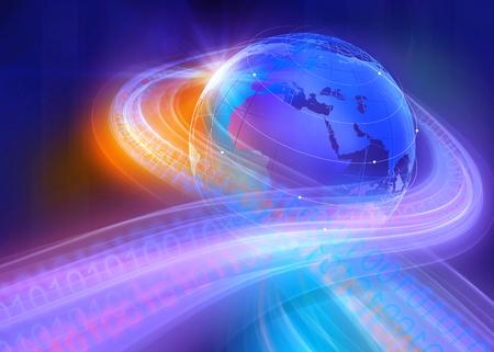 digital world: Graphical Digital Binary Code Highways Around the World Through the Space Background Stock Photo