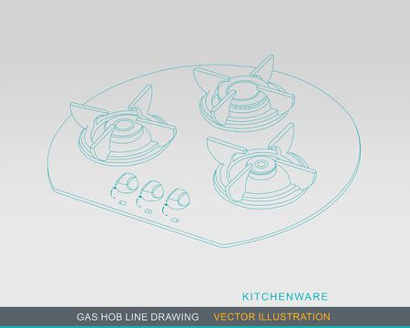 cooktop: Line Drawing of Kitchen Tabletop Gas Hob Illustration