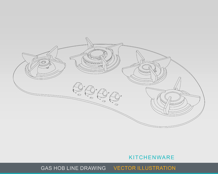 Line Drawing of Kitchen Tabletop Gas Hob Illustration