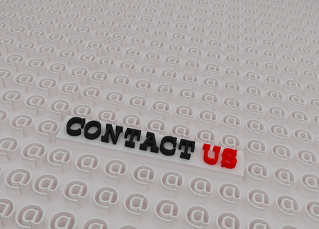 3d contact us: White 3d Contact us Text on Platform Inside 3d At Sign symbols. Stock Photo