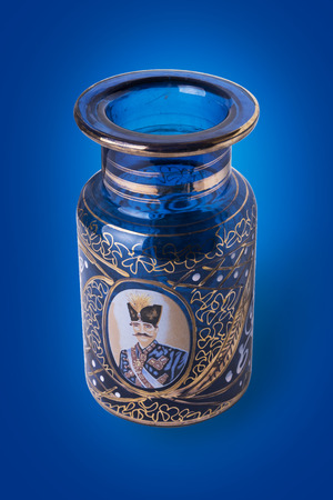 portraiture: Iranian Antique Jar Illustrated By Shah Portraiture, Created in Isfahan Iran on Blue Background, Clipping Path Included. Stock Photo