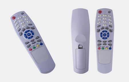 master volume: 3 Different Views of Remote Control Isolated on White Background, Clipping Path Included. Stock Photo