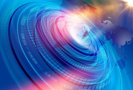 グラフィカル モダンなデジタル世界ニュース スタジオの背景、デジタルのバイナリ コード番号背景を持つ抽象的なデジタル世界。