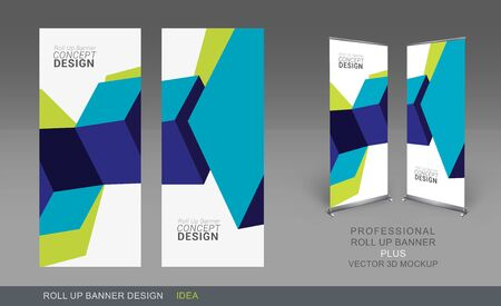 Professional Roll Up Concept Template for Business Objet, placez vos produits et prêt à aller pour Imprimer.