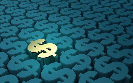 elevated: Elevated Dollar Symbols pattern, 3D illustration, 3D rendering Stock Photo