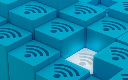 elevated: 3D Elevated Wi Fi Wireless Network Symbols, 3D illustration, 3D Render