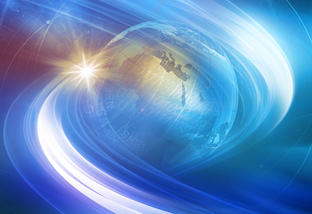 Graphical digital technology world blue and purple background Imagens