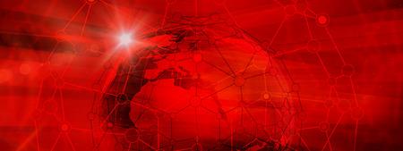 Abstrakt Global Connection Struktur auf der roten Farbe Hintergrund. Illustration der futuristischen Networking-Technologie-Konzept. Leeren Platz für Ihren Inhalt, Schablone, Kommunikation, Business und Web Design