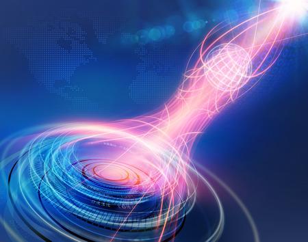Connectivité Contexte mondial à travers le Monde entier, Connexion, réseau; Transfert de données, les cercles multiples et lignes Fast Moving Around Grid Earth Globe, devant, Fond bleu avec Lens Flare.