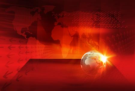Graficzne tło cyfrowe wiadomości ze świata, kula ziemska na płaskiej scenie przed czerwonym ciepłym kolorowym tłem motywu z cyfrową mapą świata.