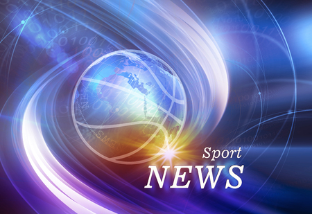 Graphical Sport News Background, Digital Sport World Design with News Text and Lens Flare.