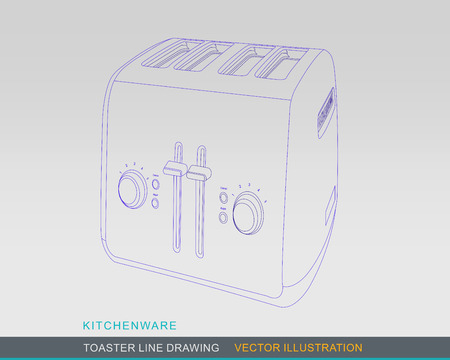 tabletop: Line Drawing of Kitchen Tabletop Toaster