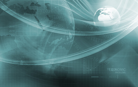 Global Economic Problems with Analytical Graph in Background, Earth Globe in Center Covered by Wave Lines. 3d Render, 3d Illustration Stock Photo