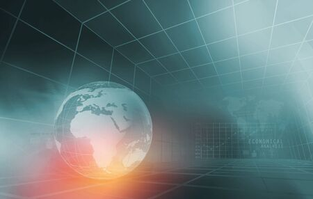 Global Economical Analysis Graph, Earth Globe in Center of 3d Grid  Lines. 3d Render, 3d Illustration