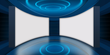 Abstract Empty 3D Studio Space, Two Big Flat Screen TV Background.3d Illustration