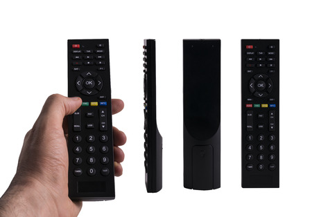 master volume: Hand Holding a Remote Control, 3 Different Views of Black Remote Control Isolated on White Background, Clipping Path Included. Stock Photo