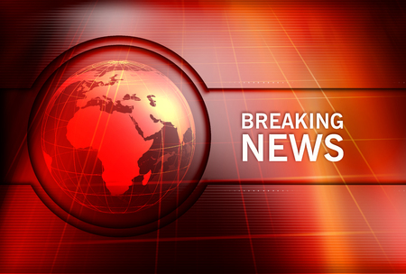 Graphical Breaking News Background with Earth Globe in Center. 3d Illustration, 3d Render Stock Photo