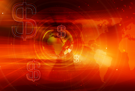 transmit: Graphical Finance and Global Business Background with Earth Globe and Round Circles and Dollar Signs. 3d illustration, 3d render Stock Photo