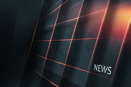 transmit: Studio High Tech Display Screen with Multiple Grid Lines and News Section. 3d Illustration