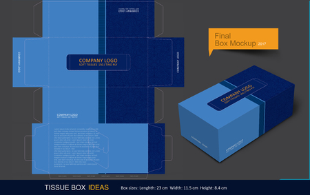 Tissue box template concept, Template for Business Purpose, Place Your Text and Logos  and Ready To GO For Print. Illustration