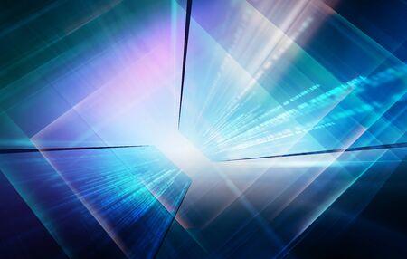 High-Tech studio background, futuristic world data transfer concept.3d illustration Stock Photo