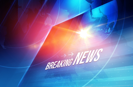 Graphical breaking news text with lens flare and earth globe background. 3d Illustration, 3d Render