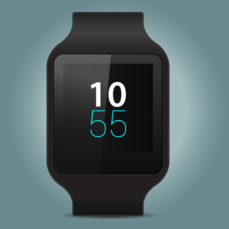 hand touch: Smart watch on gray background. Vector illustration