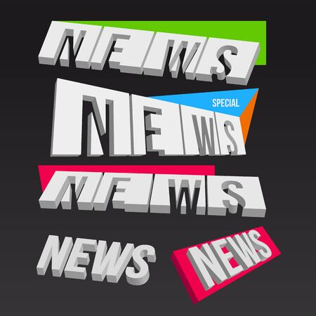 reportage: 3D colorful news elements on dark background, vector illustration Illustration
