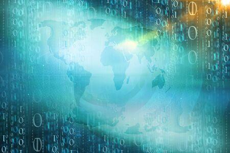 Digital binary Code Background. 3d Illustration