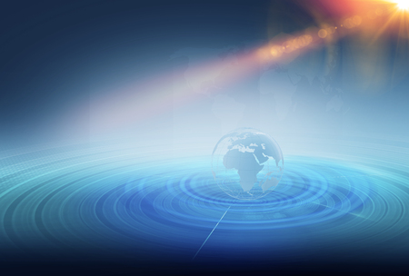 transmit: Wireframe earth globe inside multiple expanding lines around it on ground, high technology backdrop.  Stock Photo