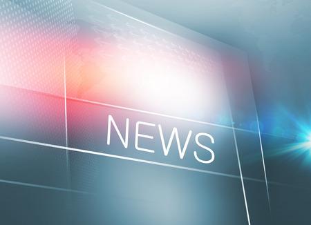 Duży płaski ekran telewizora z tekstem wiadomości, z flarą soczewki po prawej stronie. 3d ilustracja Zdjęcie Seryjne