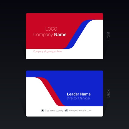 Red and blue business visit card design concept, Vector Illustration