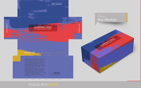 Primary color brush stroke tissue box template concept, template for Business Purpose, Place Your Text and Logos  and Ready To GO For Print.
