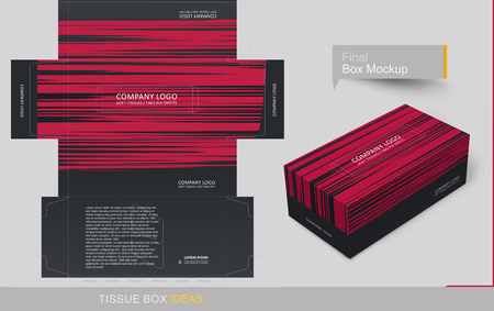Red strips on black background. Tissue box template concept, template for Business Purpose, Place Your Text and Logos  and Ready To GO For Print.