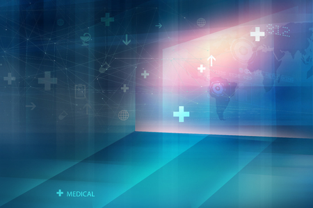Medical health global connectivity background, suitable for health care and medical news topics 스톡 콘텐츠
