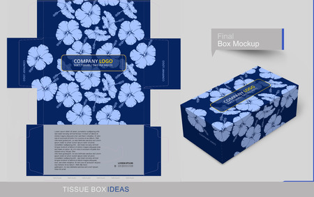 Flowers on dark blue background. Tissue box template concept, template for Business Purpose, Place Your Text and Logos  and Ready To GO For Print.