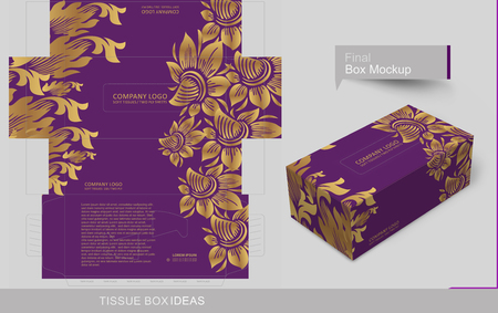 Decorated golden floral on tissue box. Tissue box template concept, template for Business Purpose, Place your text and logos and ready to go for print.