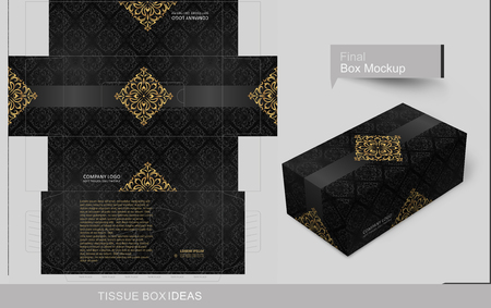 Abstract dark seamless pattern with golden elements. Tissue box template concept, template for Business Purpose, Place your text and ready to go for print.