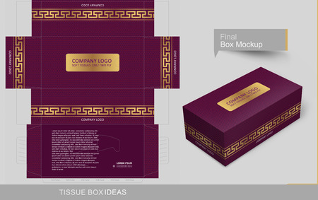 Classic golden Versace band on doted pattern box. Tissue box template concept, template for Business Purpose, Place Your Text and Logos and Ready to GO For Print.