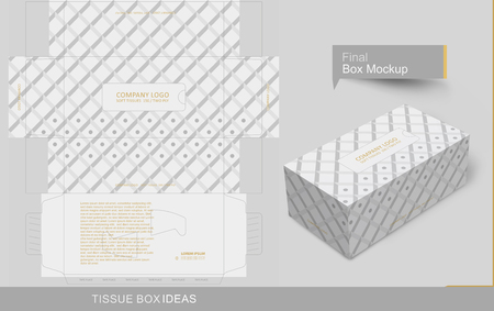 Lozenge pattern with dots on white box. Tissue box template concept, template for Business Purpose, Place Your Text and Logos and Ready to GO For Print.
