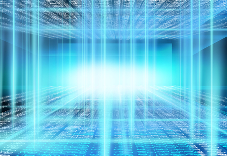 Abstract graphical digital data room background, new technology concept. Banque d'images