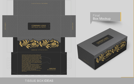 Abstract dark gray seamless pattern with vintage golden elements  tissue box concept, template for business purpose, place your text and Logos and ready to go for print.  Vectores