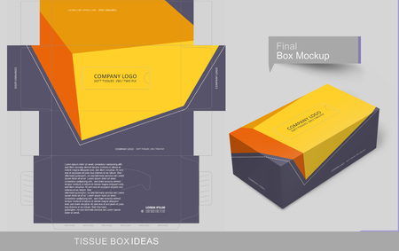 Abstract flat colors tissue box concept, template for business purpose, place your text and Logos and ready to go for print.