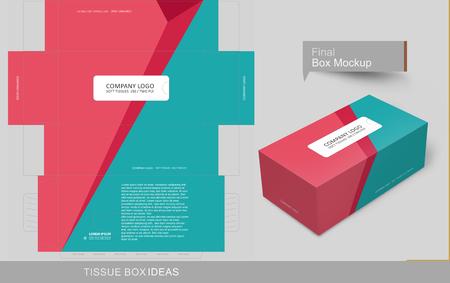 Concepto abstracto de caja de pañuelos de colores planos, plantilla para fines comerciales, coloque su texto y logotipos y listo para imprimir.