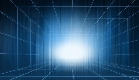 Blue theme 3d space, futuristic high tech enclosed studio backdrop